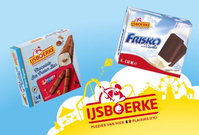 Nieuwe ijsjes met chocolade en vanille roomijs